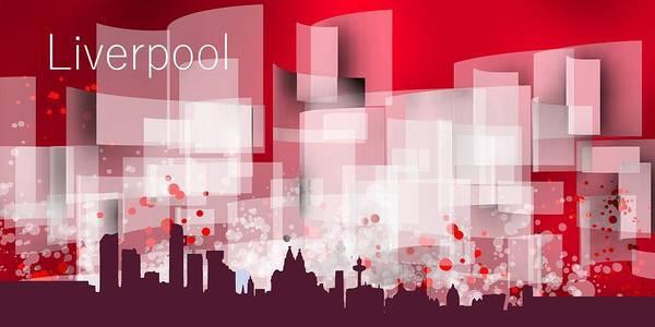 Liverpool Skyline Digital Art - Liverpool Red Skyline by Alberto RuiZ