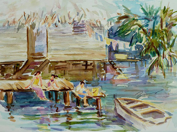Painting - Living On The Water by Xueling Zou