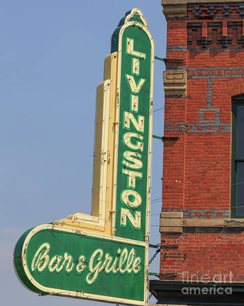 Vintage Neon Sign Photograph - Livingston Bar And Grill Old Neon Sign Montana by Edward Fielding