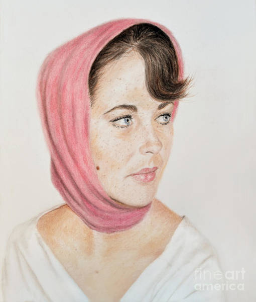 Freckle Drawing - Liz Taylor Wearing A Scarf by Jim Fitzpatrick