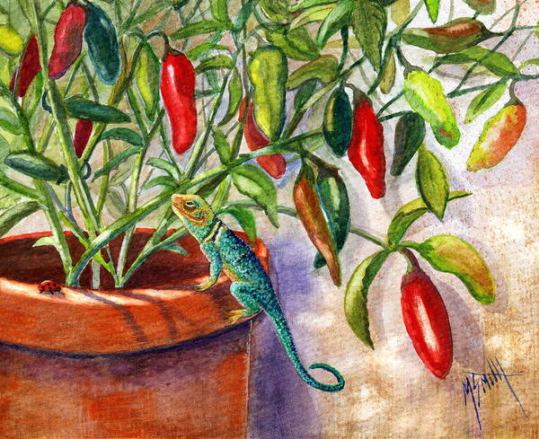 Adobe Walls Painting - Lizard In Hot Sauce by Marilyn Smith