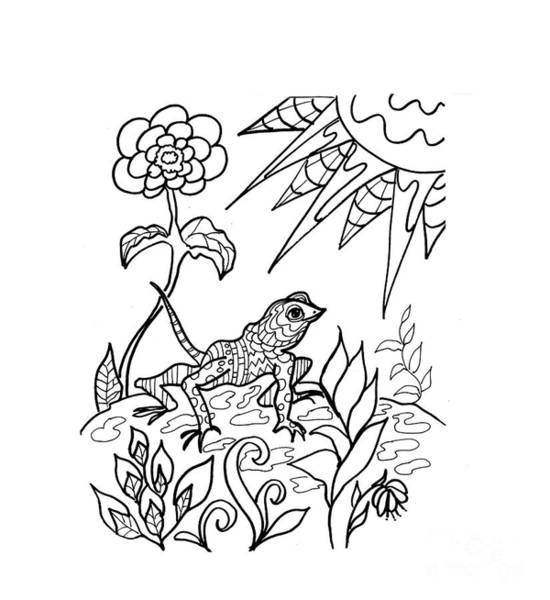 Drawing - Lizard Ink Coloring Book by Robin Maria Pedrero