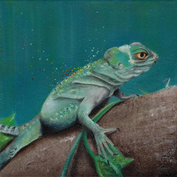 Green Iguana Wall Art - Painting - Lizard by Kathleen Wong