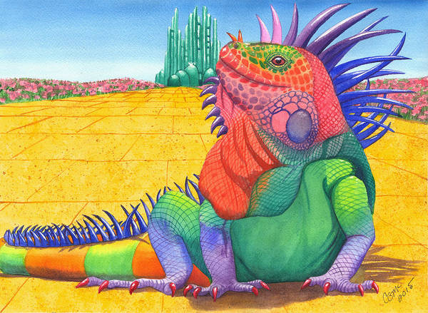 Yellow Brick Road Wall Art - Painting - Lizard Of Oz by Catherine G McElroy