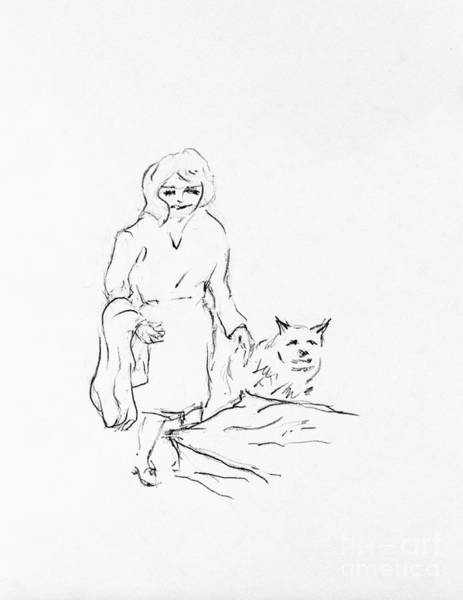 Hund Drawing - Lizzy Gets Dash A Blanket by Anthony Vandyk