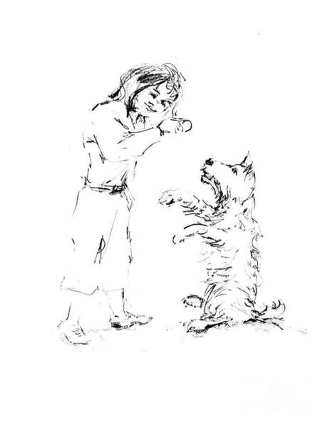 Hund Drawing - Lizzy Giving Dash A Cookie by Dorothy Hilde
