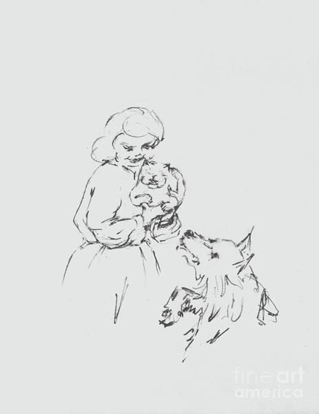 Hund Drawing - Lizzy Picking Up Charles by Anthony Vandyk