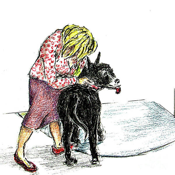 Hund Drawing - Lizzy Puts A Leash On Dash by Dorothy Hilde