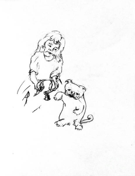 Hund Drawing - Lizzy Puts Collar On Charles by Dorothy Hilde