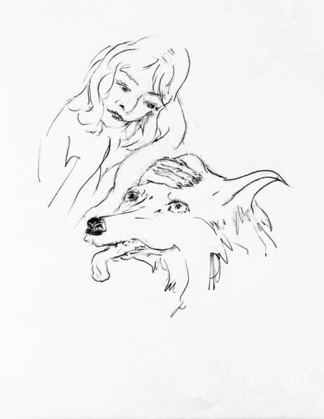 Hund Drawing - Lizzy Scratching Dash by Anthony Vandyk