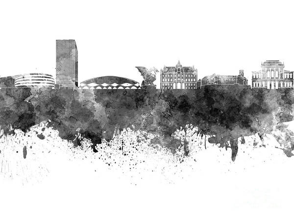 Ljubljana Painting - Ljubljana Skyline In Black Watercolor On White Background by Pablo Romero