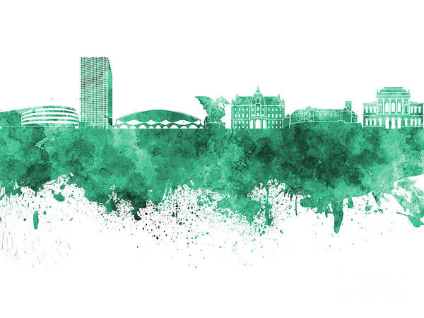 Ljubljana Painting - Ljubljana Skyline In Green Watercolor On White Background by Pablo Romero