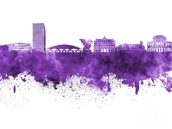 Ljubljana Painting - Ljubljana Skyline In Purple Watercolor On White Background by Pablo Romero
