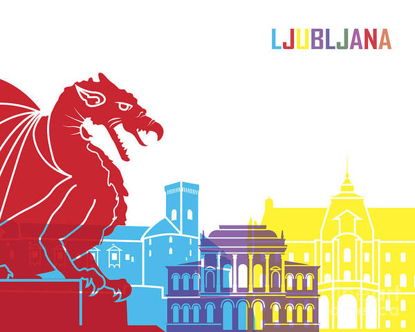 Ljubljana Painting - Ljubljana Skyline Pop by Pablo Romero