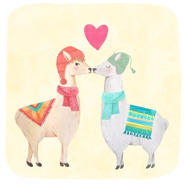 Alpaca Painting - Llamas In Love by Little Bunny Sunshine