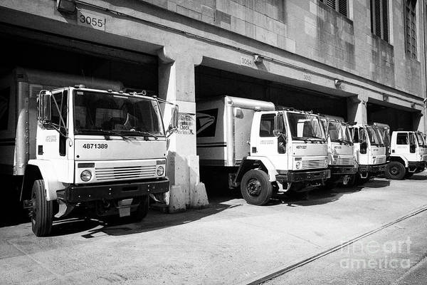 United States Postal Service Photograph - loading bays full of usps delivery trucks morgan general mail facility New York City USA by Joe Fox