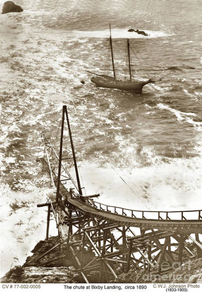 Photograph - Loading Chute Bixby Landing  Aka Hamilton's Landing At Mill Creek 1885 by California Views Archives Mr Pat Hathaway Archives