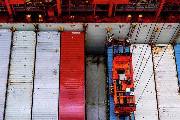 Photograph - Loading Shipping Containers by M G Whittingham