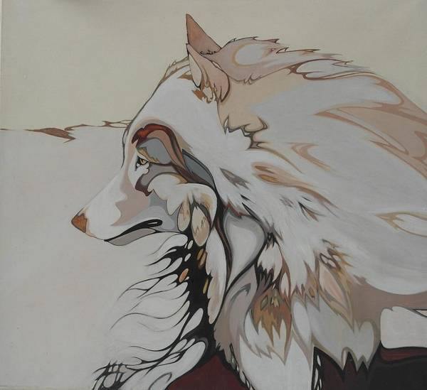 Arctic Wolf Painting - lObO by Cindy Collins