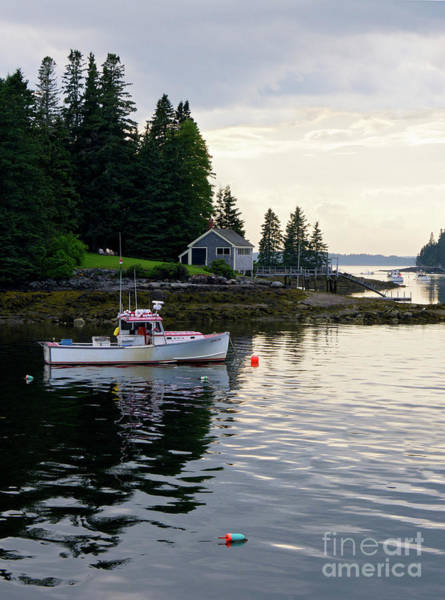Photograph - Lobster Boat And Clearing Skies, Port Clyde, Maine #30806 by John Bald