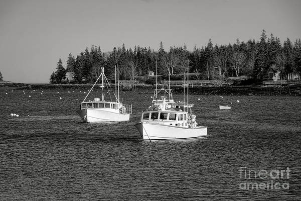 Photograph - Lobster Boats On Maine Coastal Inlet by Olivier Le Queinec