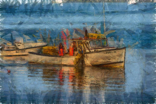 Lobstering Photograph - Lobster Man Pulling In His Lobster Pots by Jeff Folger