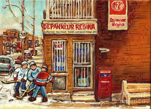 Painting - Local Corner Depanneur Regine Street Hockey Winter Scenes Canadian Art For Sale Carole Spandau       by Carole Spandau