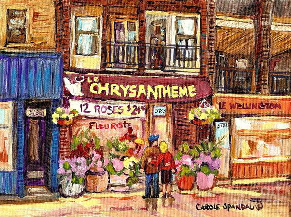 Painting - Local Flower Shop Le Chrysantheme Verdun Montreal Summer City Scene Canadian Art Carole Spandau      by Carole Spandau