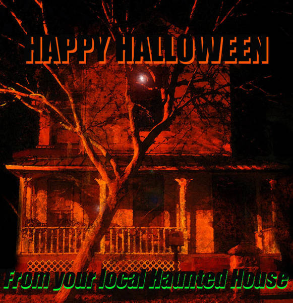 Wall Art - Photograph - Local Haunted House Card by David Lee Thompson