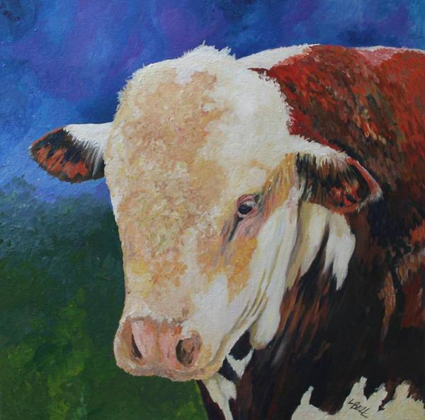 Hereford Bull Painting - Local Hereford Bull by Leonie Bell
