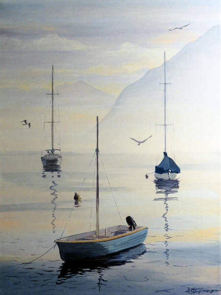 Painting - Locarno Boats In February by David Gilmore