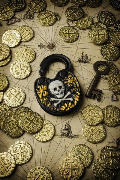 Wall Art - Photograph - Lock And Gold Coins by Garry Gay