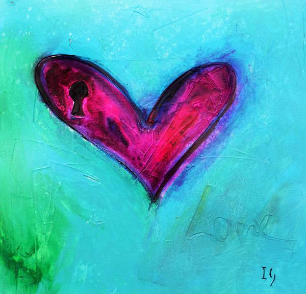 Wall Art - Painting - Locked Pink Heart by Ivan Guaderrama