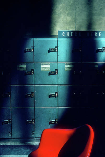 Lockers And Red Chair Art Print