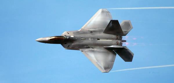 Wall Art - Photograph - Lockheed Martin F-22 Raptor Condensation Trails by L Brown