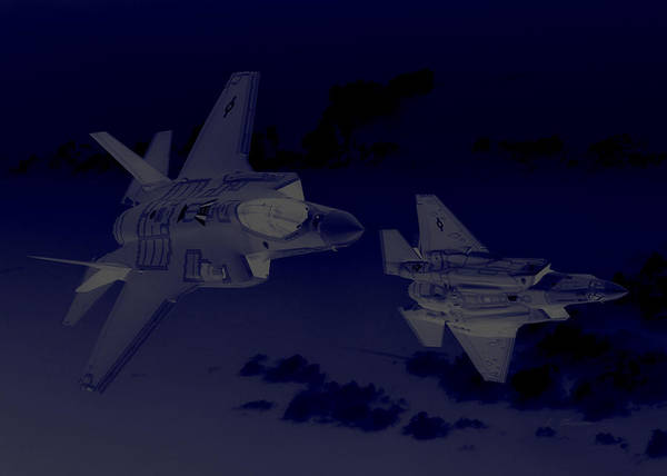 Wall Art - Photograph - Lockheed Martin F 35 Lightening II Joint Strike Fighters During Night Military Exercises by L Brown