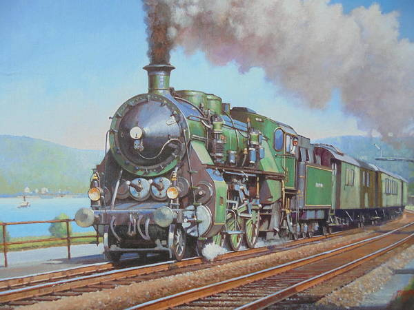 Lakeside Wall Art - Painting - Loco By The Lake. by Mike Jeffries