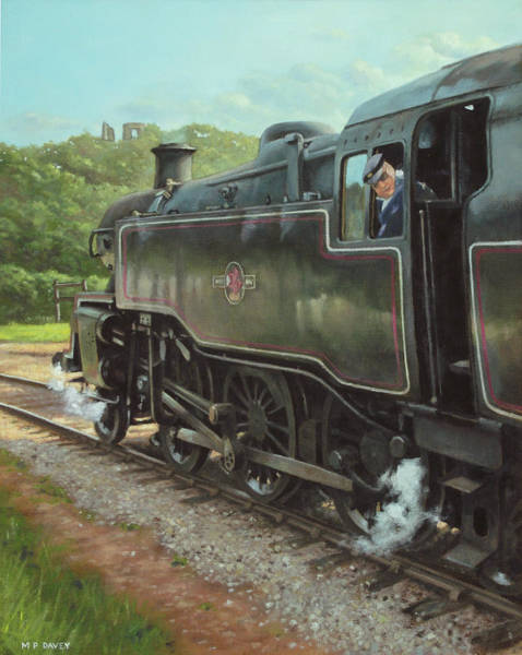 Painting - Locomotive At Swanage Railway by Martin Davey