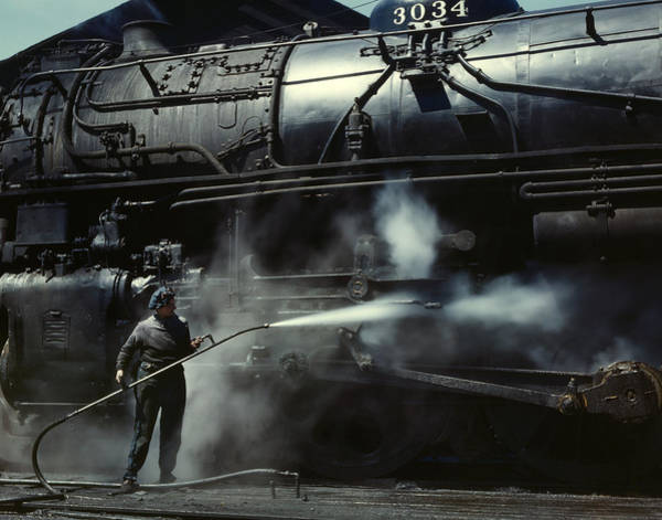 Chicago And North Western Photograph - Locomotive Gets A Steam Bath - 1943 by War Is Hell Store