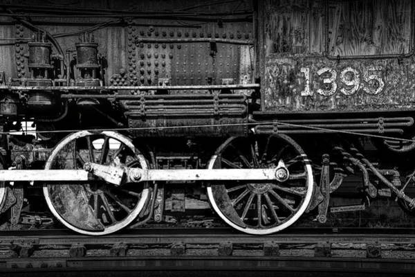Photograph - Locomotive Train Engine Wheels Of No.1395 In Black And White by Randall Nyhof