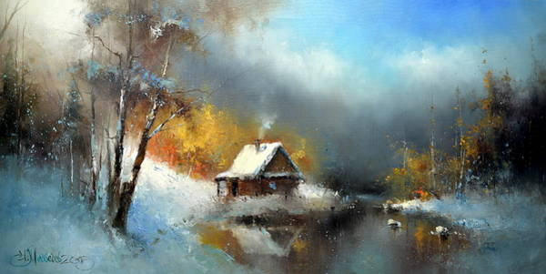 Painting - Lodge In The Winter Forest by Igor Medvedev
