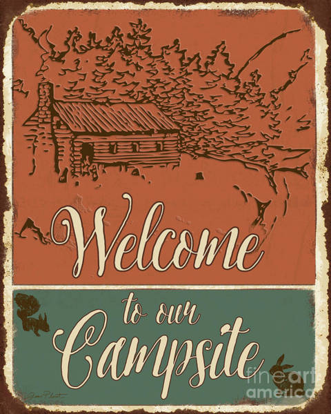 Welcome Sign Digital Art - Lodge Signs-c by Jean Plout