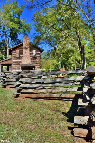 Photograph - Log Cabin And Wooden Fence At Ninety Six National Historic Site by Lisa Wooten
