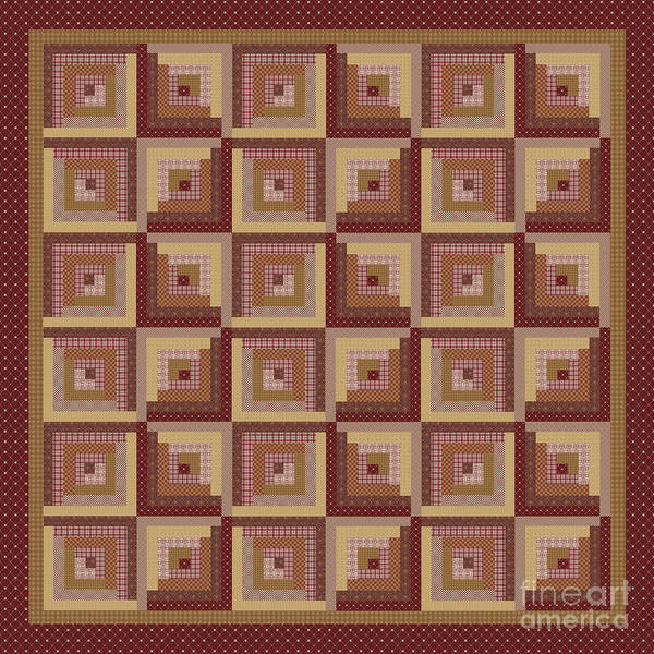 Wall Art - Digital Art - Log Cabin Reds Quilt by Jean Plout