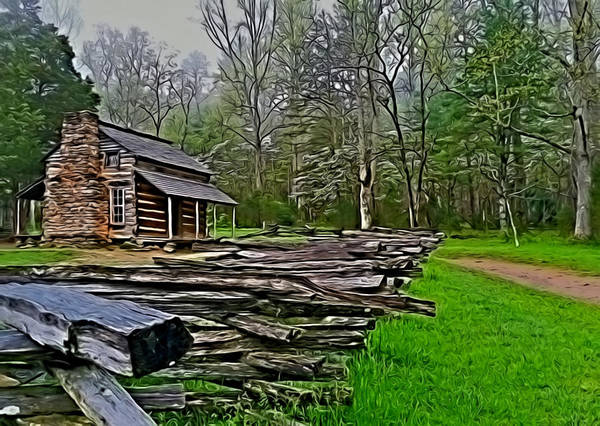 John Oliver Cabin Photograph - Log Cabin In Spring by Frank Montoya