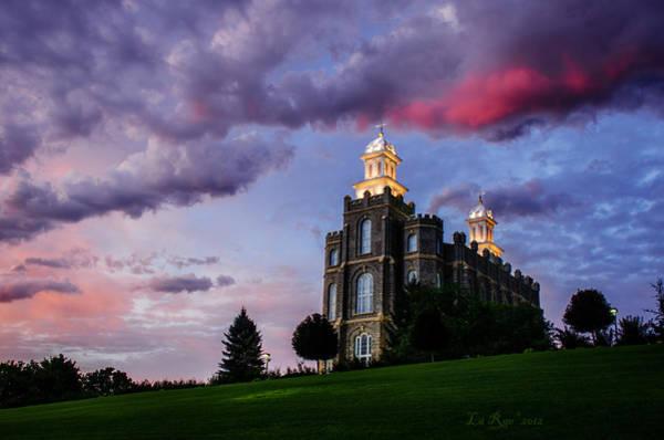 Mormon Photograph - Logan Temple Heaven's Light by La Rae  Roberts