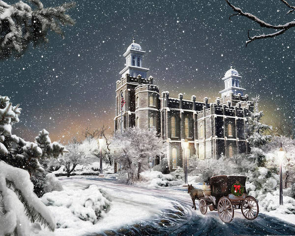Judaism Digital Art - Logan Temple - Old Time Christmas by Brent Borup