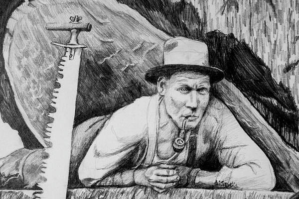Lumberjacks Drawing - Loggers Detail 1 by James Deady
