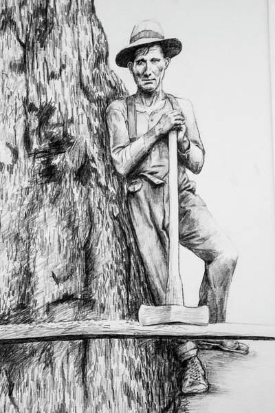 Lumberjacks Drawing - Loggers Detail 2 by James Deady