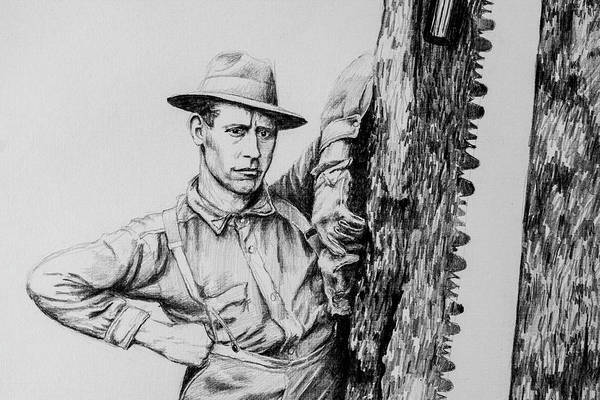 Lumberjacks Drawing - Loggers Detail 3 by James Deady